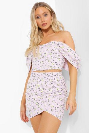 Boohoo Ditsy Floral Bardot Corset & Ruched Skirt, Purple