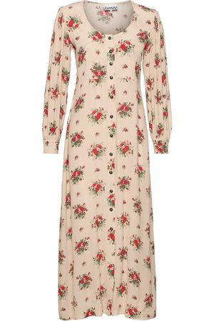 Ganni Kvinna Festklänningar - Printed Crepe Maxiklänning Festklänning Rosa