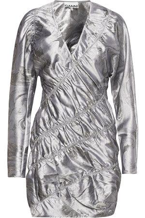 Ganni Shiny Jacquard Kort Klänning Silver