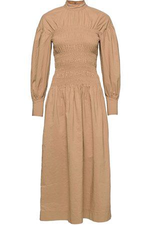 Ganni Kvinna Klänningar - Cotton Canvas Dresses Everyday Dresses Beige