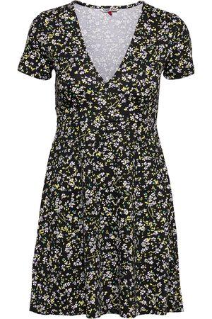 Tommy Hilfiger Tjw Fit Flare Floral Print Dress Dresses Everyday Dresses Svart