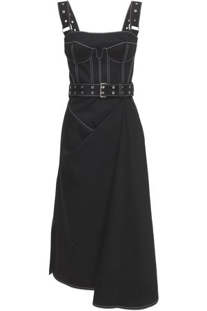 Alexander McQueen Kvinna Bandeauklänningar - Belted Cotton Denim Bustier Dress