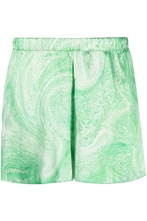 Opening Ceremony Marble-print shiny shorts