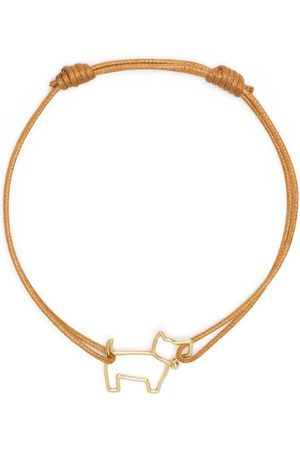 Aliita 9kt yellow gold Perrito charm cord bracelet