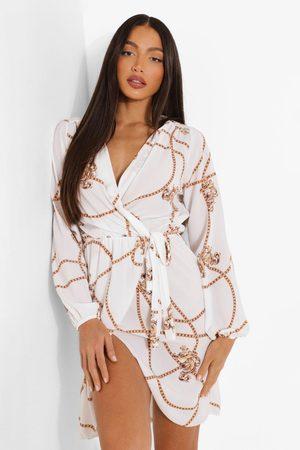 Boohoo Tall - Kedjemönstrad Midiklänning I Omlottmodell, White