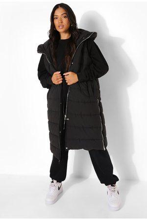 Boohoo Kvinna Västar - Petite Hooded Longline Gilet, Black