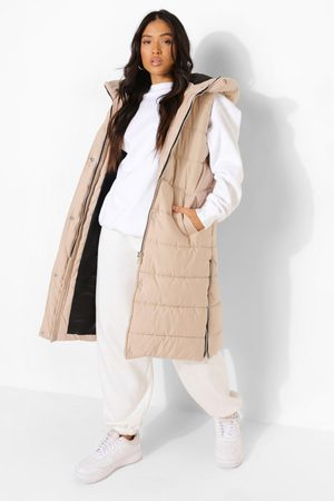 Boohoo Kvinna Västar - Petite Hooded Longline Gilet