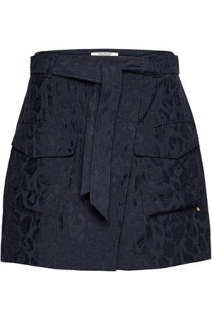 Scotch&Soda Wrap-Over Skirt In Animal Jacquard Tencel™ Quality Kort Kjol Blå