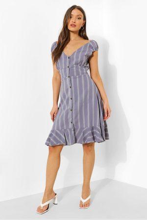 Boohoo Striped Button Up Frill Hem Midi Dress, Blue