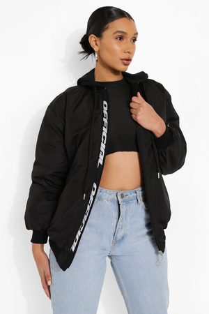 Boohoo Hooded Official Tape Oversized Bomber Jacket, Black