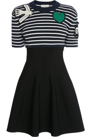 Alexander McQueen Wool & Cotton Knit Mini Dress