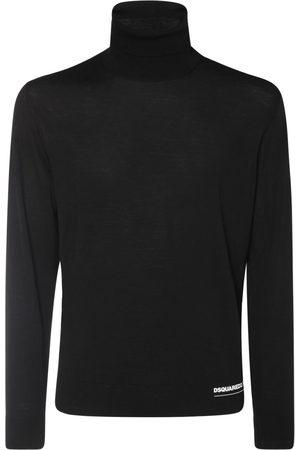 Dsquared2 Hem Logo Print Fine Wool Knit Sweater