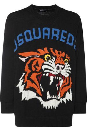 Dsquared2 Logo Tiger Intarsia Wool Knit Sweater