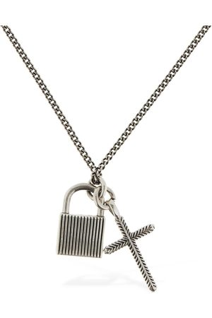 EMANUELE BICOCCHI Padlock & Cross Pendant Chain Necklace