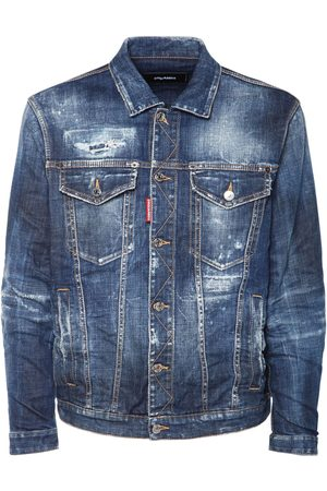 Dsquared2 Man Jeansjackor - Oversize Ripped Cotton Denim Jacket
