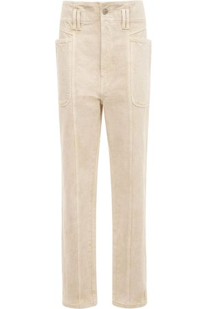 Isabel Marant Tess High Waist Cotton Straight Pants