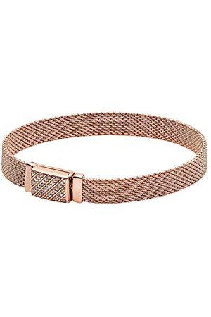 PANDORA Reflekterande pavé-armband med långt lås, längd: 17 cm, 14 karat roséguldpläterad metallegering, finns i olika storlekar, 589358C01-17