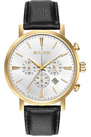 BULOVA Herr designer kronograf klocka läderrem – klassisk Aerojet 97B155