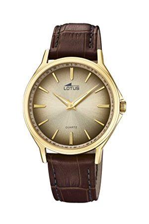 Lotus Lotus klockor herr analog klassisk kvartsklocka med läderrem 18517/1