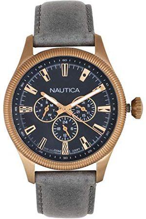 Nautica Herr analog kvartsklocka med läderrem NAPSTB003