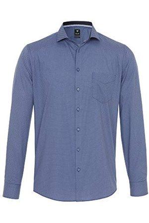 Pure Herr 4026-428 City Black lång ärm klassisk skjorta, tryck mellanblå, XL
