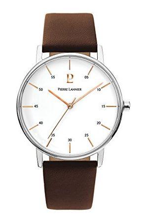 Pierre Lannier Herr analog kvartsklocka med läderrem 202J104