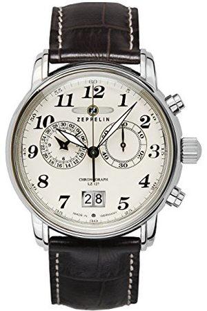 Zeppelin Herrklocka kronograf kvarts med läderarmband – 76845