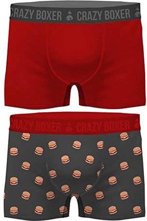 Crazy Boxer Män T472-1-z Basic-Calzoncillos tips för Hombre (Certificado Gots, 2 Unidades) Crazy Burger XXL, XX-Large