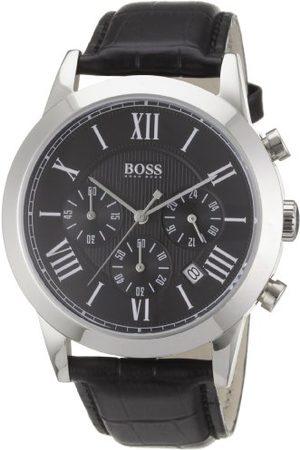 HUGO BOSS Kvartsklocka för män med urtavla kronograf display och läderrem 1512574