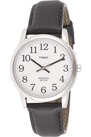 Timex Män T20501 kvarts lättläsarklocka med vit urtavla analog display och svart läderrem