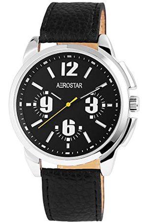 Aerostar Herr analog kvartsklocka med lädermitat armband 21102120006