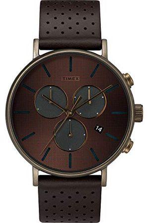 Timex Herr analog kvartsklocka med äkta läderarmband TW2R80100