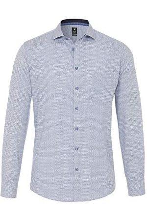Pure Herr 4026-428 City Black långärmad klassisk skjorta, tryck medelblå, M