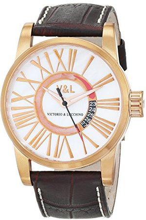 VL92 V&L herr datum klassisk kvartsklocka med läderarmband VL068502