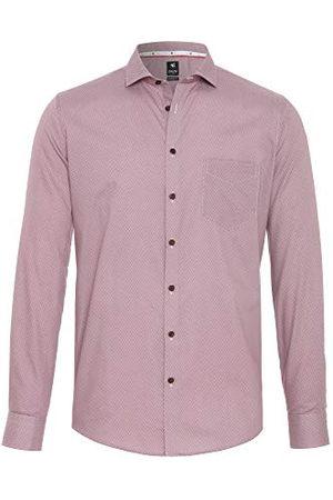 Pure Herr 4032-464 City Black lång ärm klassisk skjorta, tryck mellanblå, S