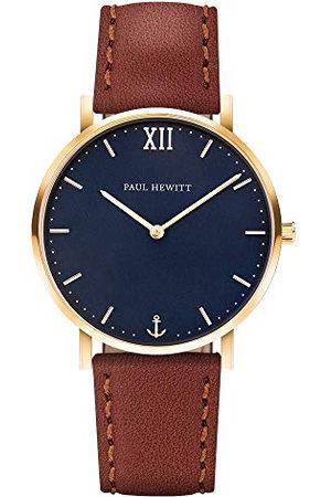 Paul Hewitt Unisex vuxna analog kvarts smartklocka armbandsur med läderarmband PH-SA-G-Sm-B-1S