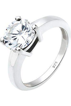 Elli Smycke ring solitär dam av 925 sterlingsilver med zirkoniumsten i repfattning e 925 sterlingsilver, 54, colore: , cod. 06400595_54