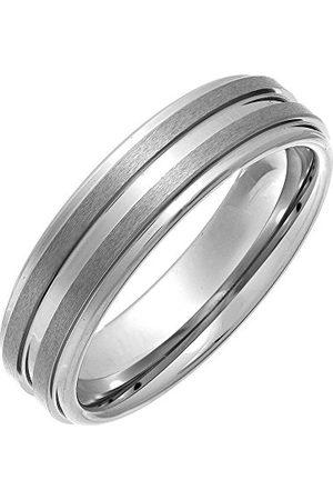 THEIA Nickelfri volfram högpolerad med 2 mattade ränder 6 mm vigselring för damer eller herrar e tungsten, O, colore: Metallisk, cod. TH4041/O