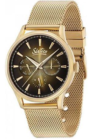 Unbekannt Sixties unisex vuxna multiurtavla kvarts klocka med rostfritt stål armband SIX600YGME-07