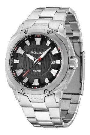 Police Polisuppdrag herr kvartsklocka med urtavla analog display och rostfritt stål armband 13892JS/02M