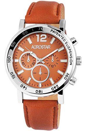Aerostar Herr analog kvartsklocka med lädermitat armband 21102750001