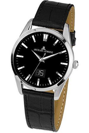 Jacques Lemans Unisex analog kvartsklocka med läderarmband 1–1828A