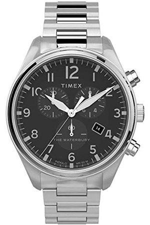 Timex Herr kronograf klocka vattentät med rostfritt stålband Armband /