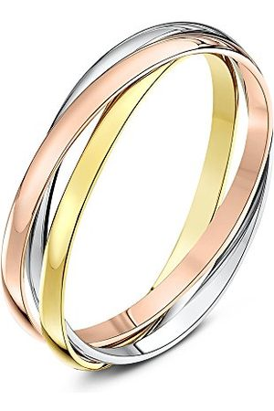 THEIA Unisex 9 ct Rose, och Högpolerad Guld Rysk Bröllopsring, W, colore: Yellow, White and Rose, cod. TH1774