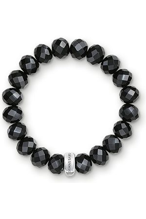 Thomas Sabo Damarmband charm klubb 925 sterlingsilver nylon obsidian X0035-023-11 e silver, colore: Silverfärger, , cod. X0035-023-11-XL