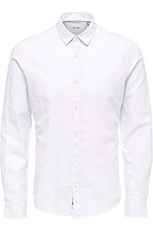 Only & Sons Män Slim Fit Onscaiden LS Solid Linen Businesshemd