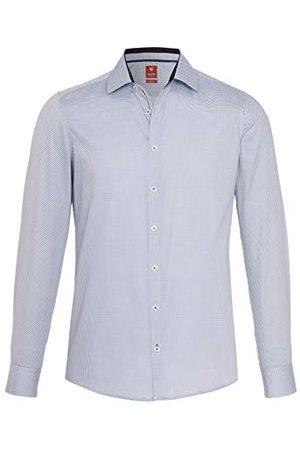 Pure Herr 4017-714 City Red långärmad klassisk skjorta, tryck medelblå, XL