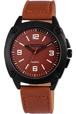 Aerostar Herr analog kvartsklocka med lädererimitat armband 211071000008