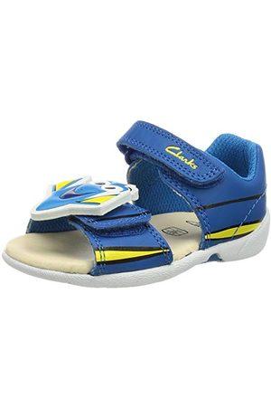 Clarks Unisex Zora Nemo T-sandal för barn, Blue Leather - 5.5 UK Child