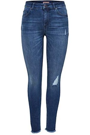 Only NOS dam onlBLUSH MID ANK RAW JEANS REA2077 NOOS Skinny, (medium blue denim medium blue denim), L / L30